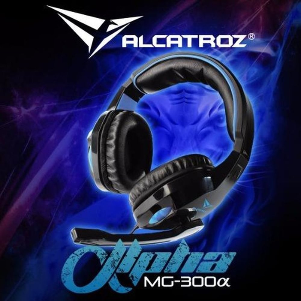 Alcatroz Alpha MG-300 Gaming Headphones Black-Blue->HEADSETS