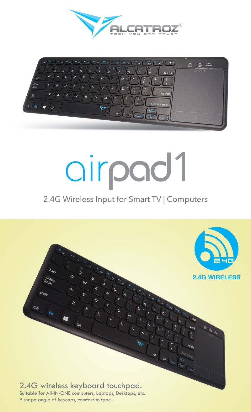 Alcatroz AirPad 1 Wireless Keyboard with Touchpad Black->MICE