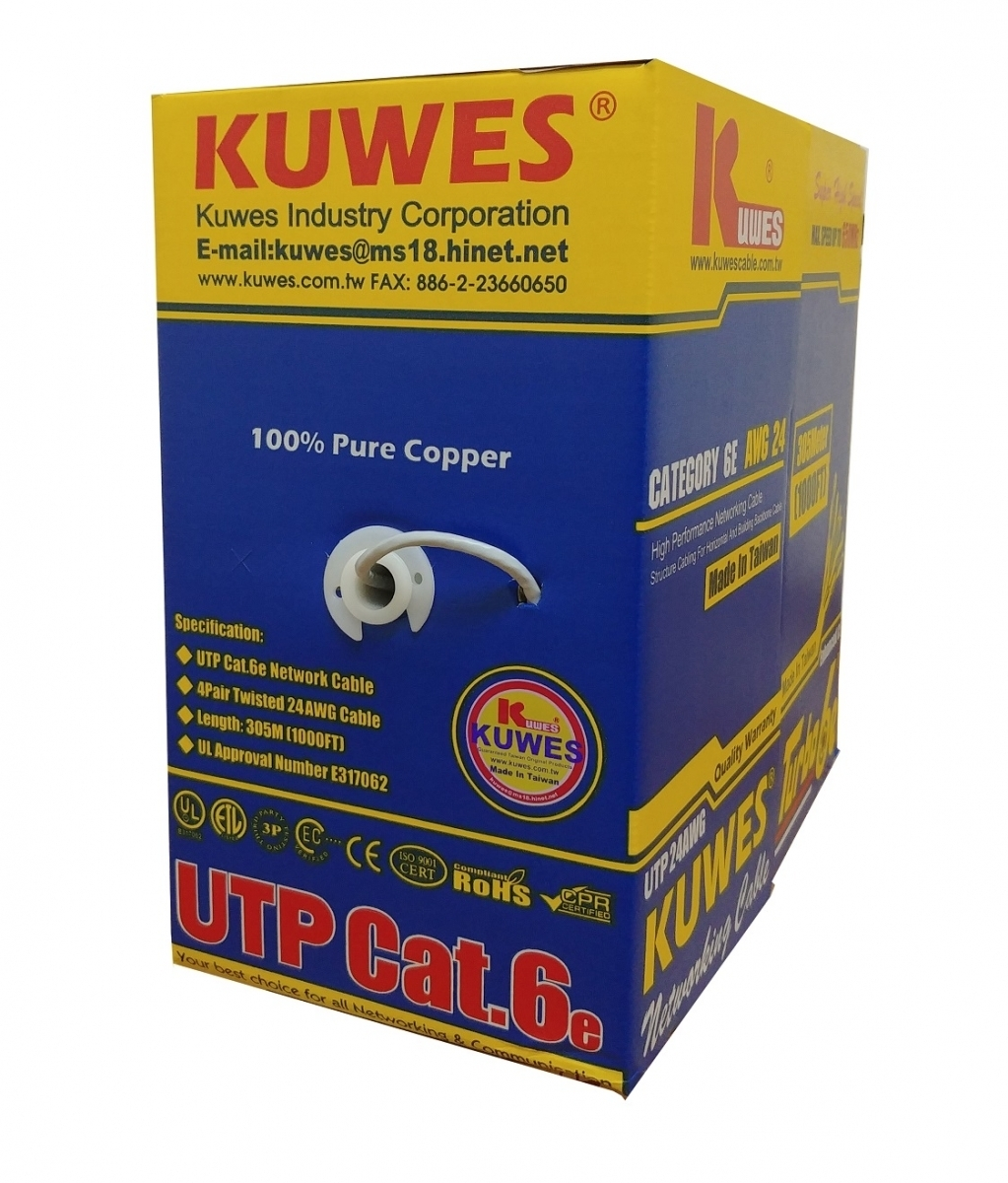 Kuwes CAT6 TURBO6E UTP Pure Copper Cable 24AWG 305m