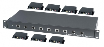 Shetech CE09A AV Splitter 1x9 over CAT5 incl.7 Receivers