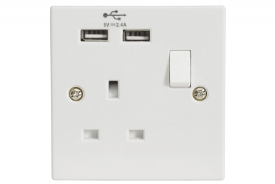 Mercury Single Gang Mains Socket USB 2.4A 429.893UK