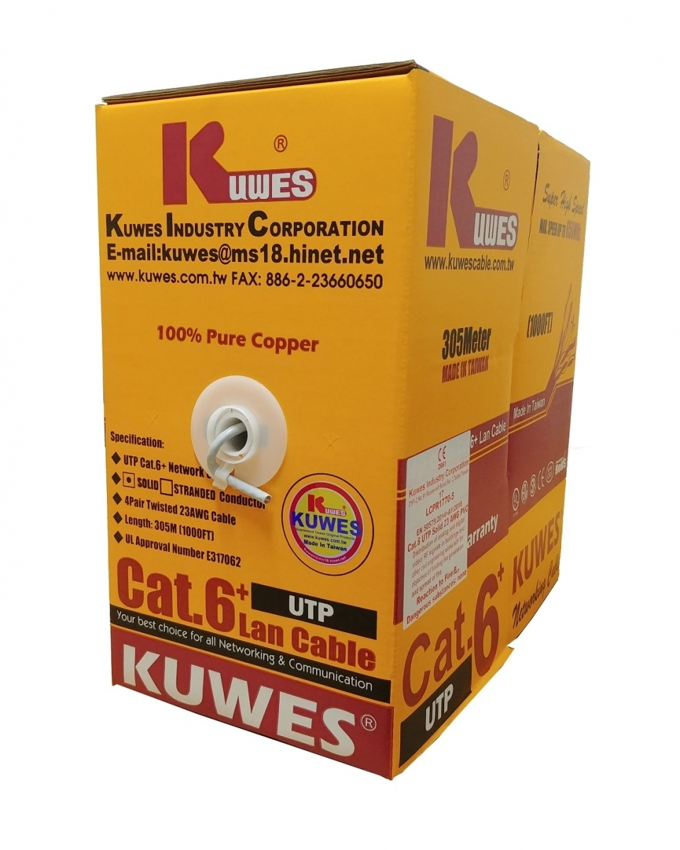 Kuwes CAT6 FASTCAT6+ UTP Pure Copper 23AWG 305m Grey