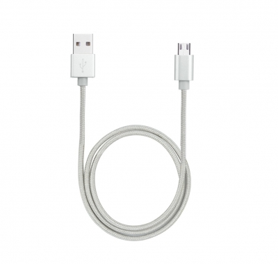 Avantree KNIT Micro USB Cable 0.65m Braided Silver