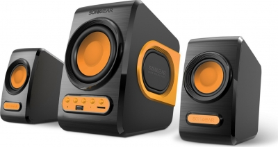 Sonicgear QuatroV 2.1 USB PC Speakers FM/SD Orange