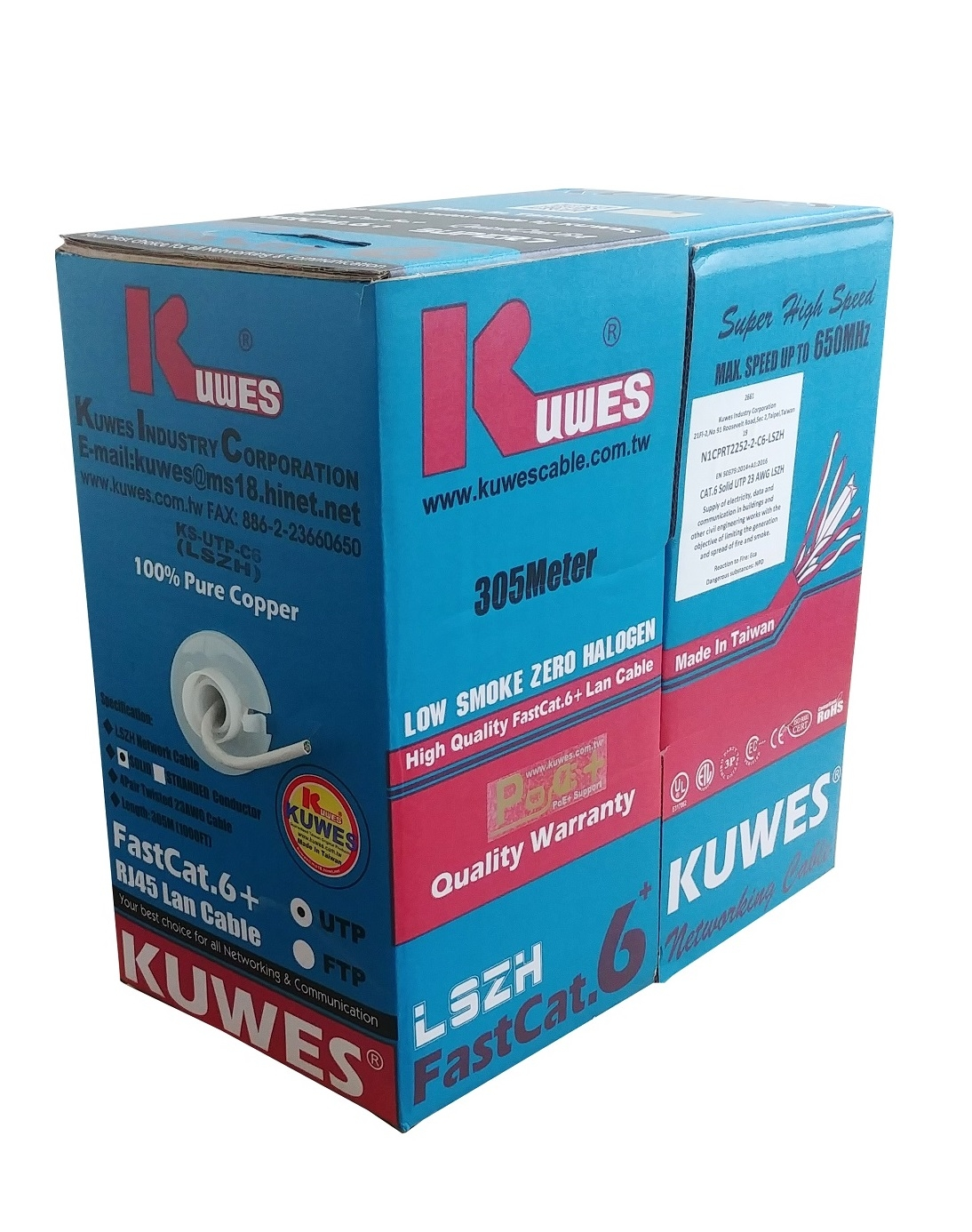 Kuwes CAT6 FASTCAT6+ UTP Pure Copper LSZH 23AWG 305m Grey