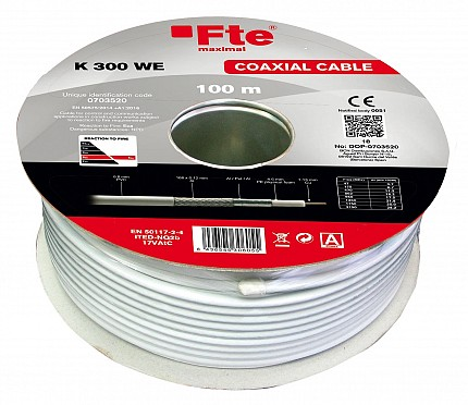 FTE K300WE Coaxial Cable RG6 Copper 100m