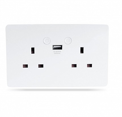 WOOX R4053 Wi-Fi Smart Wall Socket 2xUK Outlet & 1xUSB 5V/2.4A
