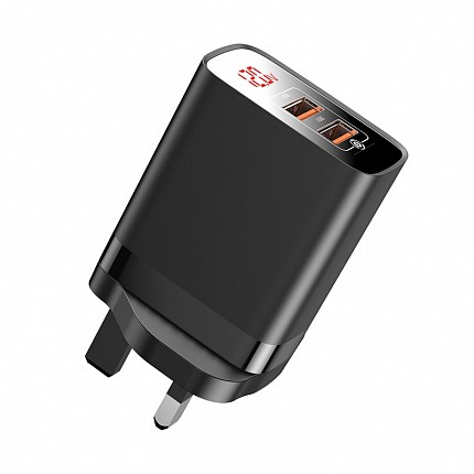 Baseus FUNZI QC3.0 USB Charger With Display Black
