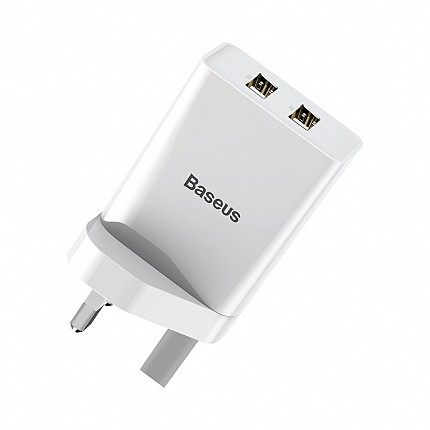 Baseus FUNZI Dual USB Charger 2.1A UK White