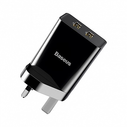 Baseus FUNZI Dual USB Charger 2.1A UK Black