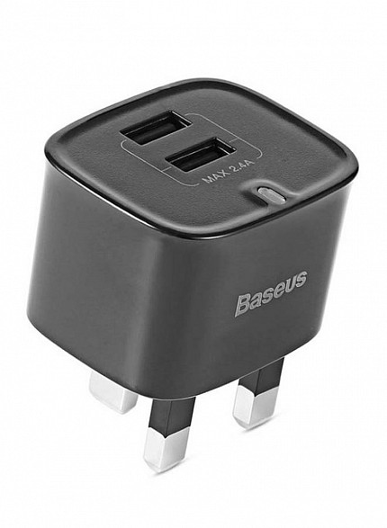 Baseus FUNZI Dual USB Charger 2.4A UK Black