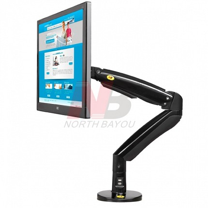 NBMounts F100A Ergonomic Extra Long Sit & Stand Monitor Mount Black